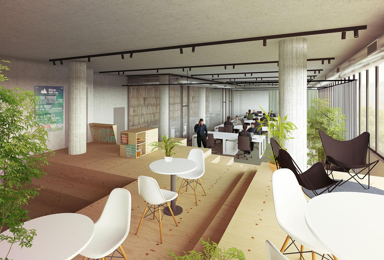 Dise o de oficinas en un edificio industrial garmendia for Bbk oficina central bilbao